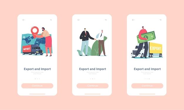 Onboard-bildschirmvorlage für mobile app-seite exportieren oder importieren