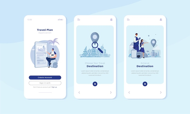 Onboard mobiler bildschirm mit reisendem app-illustrationskonzept
