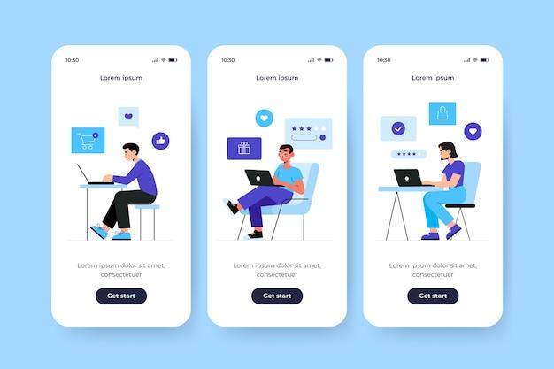 Onboarding-app-bildschirm für den online-kauf