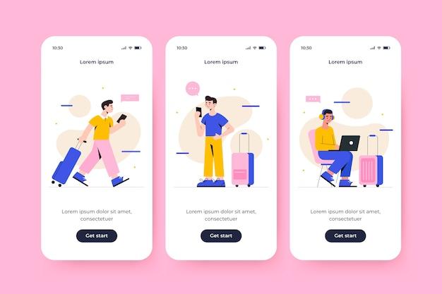 Onboarding app-bildschirm für reisen konzept