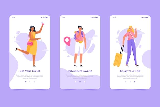Onboarding-app-bildschirm für reisen
