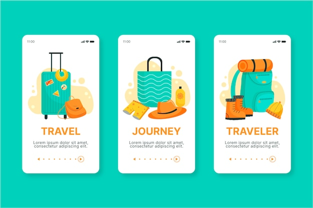 Onboarding-app-bildschirm-konzept zu reisen