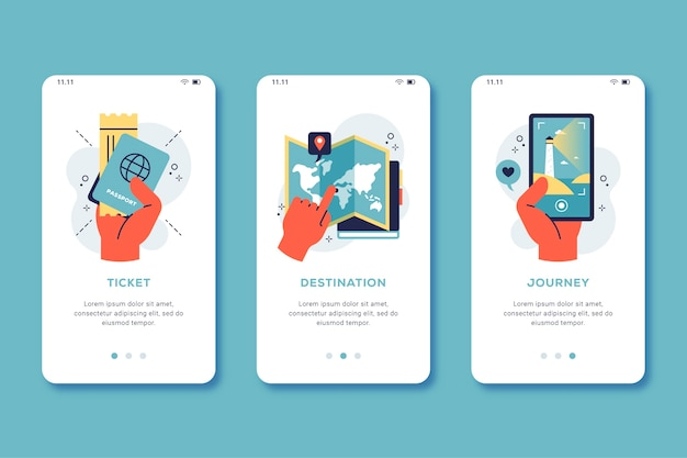 Onboarding-app-bildschirm-thema zu reisen