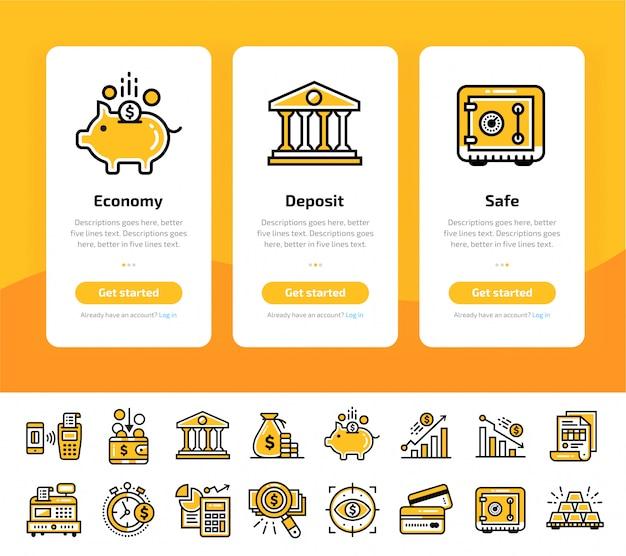 Onboarding app bildschirme der finanzen, banking icon set