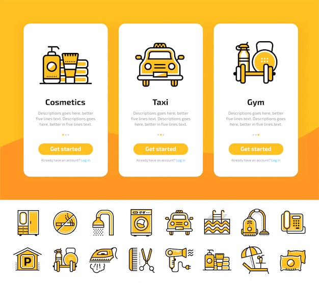 Onboarding-app-bildschirme des symbols für hoteldienstleistungen