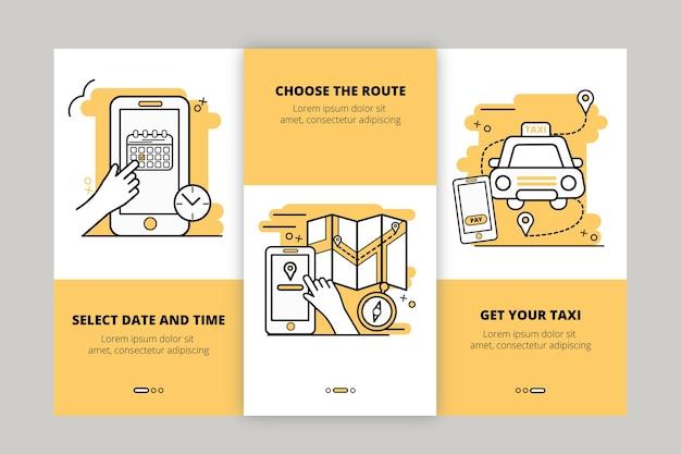 Onboarding-app-bildschirme des taxiservices eingestellt