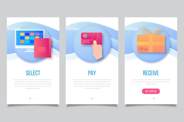 Onboarding-app-bildschirme einkaufen