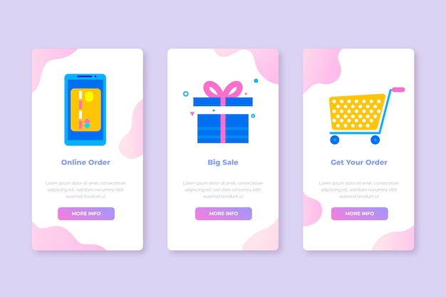 Onboarding-app-bildschirme für den kauf eines online-service-sets