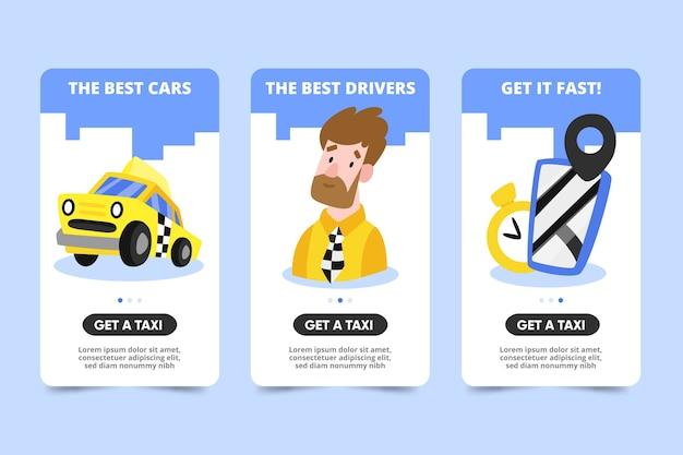 Onboarding-app-bildschirme für den taxiservice