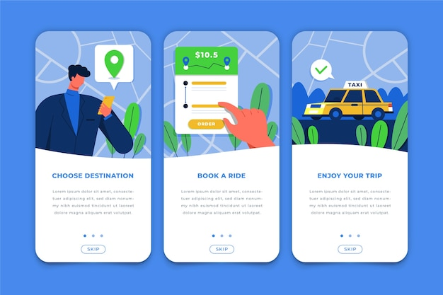 Onboarding-app-bildschirme für taxiservices
