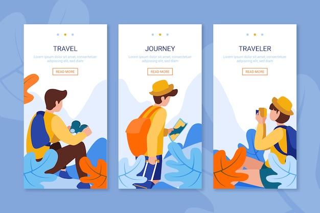 Onboarding-app-bildschirme für unterwegs