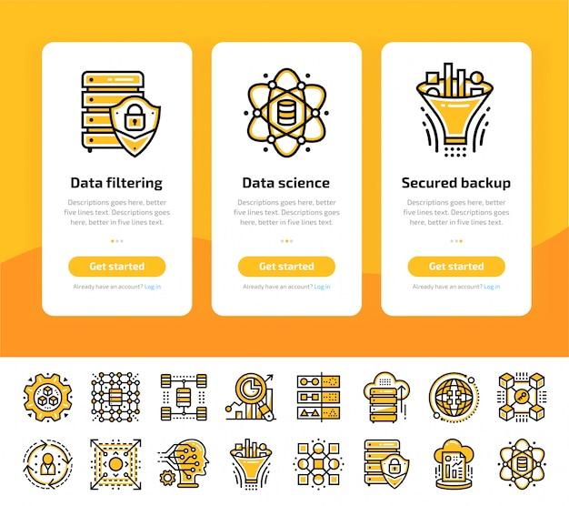 Onboarding-app-bildschirme mit symbolen für data science-technologie und maschinellen lernprozess