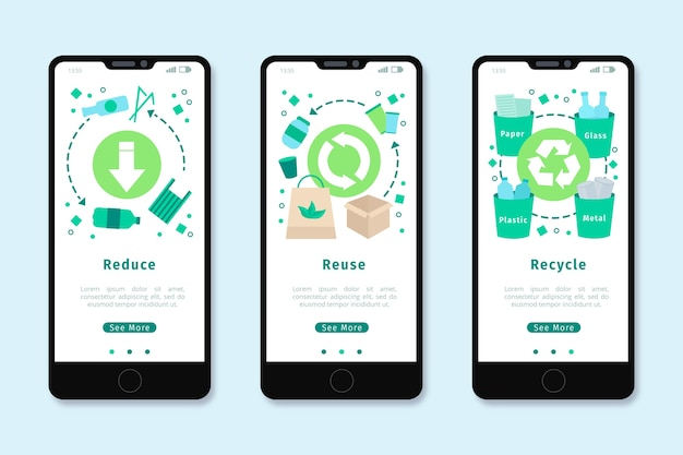 Onboarding app design für das recycling