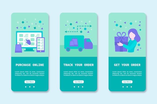 Onboarding-app-design für den online-kauf