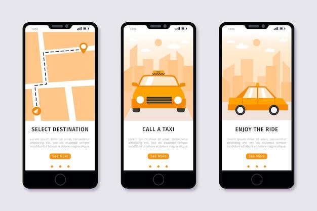 Onboarding app design für taxiservice