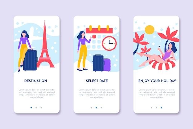 Onboarding app design für unterwegs