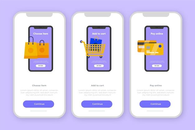 Onboarding-app-konzept für den online-einkauf