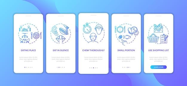Onboarding-bildschirm der mobilen app für ernährung und gesundheit mit konzepten
