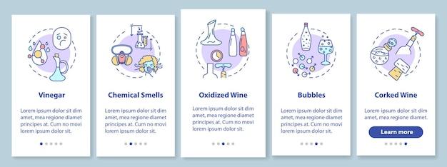 Onboarding-bildschirm der mobilen app für weinproben mit konzepten. bestimmen sie alkohol von schlechter qualität walkthrough 5 schritte grafische anweisungen. ui-vektorvorlage mit rgb-farbabbildungen