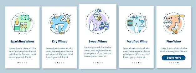 Onboarding-bildschirm der mobilen app für weinproben mit konzepten. traubenalkohol verschiedene arten. exemplarische 5 schritte grafische anweisungen. ui-vektorvorlage mit rgb-farbabbildungen