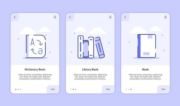 Onboarding-bildschirm des wörterbuchbibliotheksbuchs für mobile apps