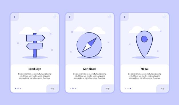 Onboarding-bildschirm für die benutzeroberfläche der banner-seite für vorlagen für mobile apps