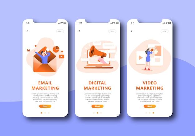 Onboarding-bildschirm für digitales marketing, mobile benutzeroberfläche
