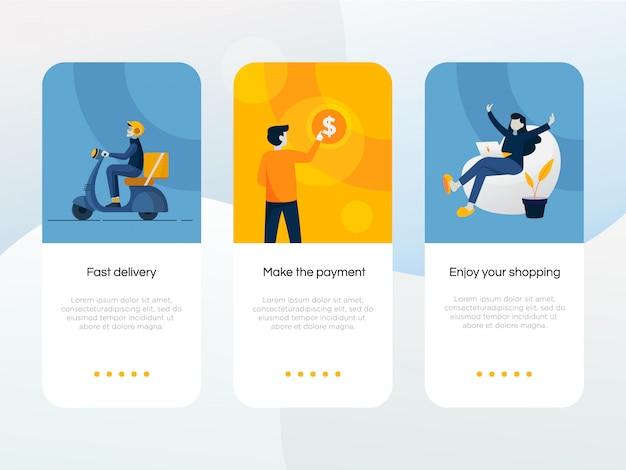 Onboarding-bildschirm für online-shopping