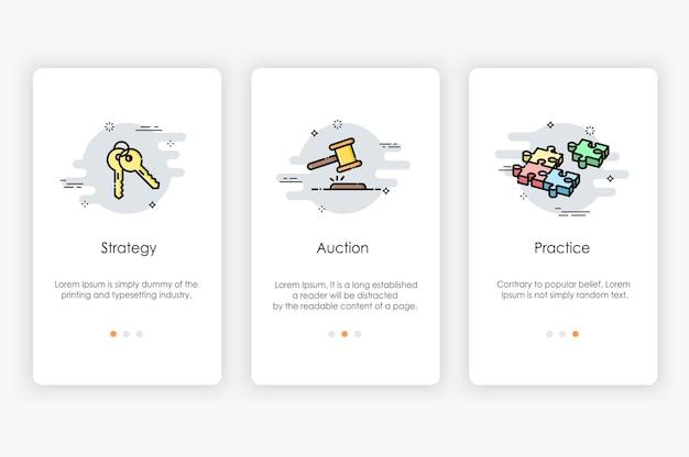Onboarding-bildschirmdesign im geschäftskonzept. moderne und vereinfachte vorlage für mobile apps.