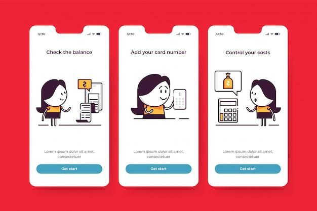 Onboarding-bildschirme für mobile finanzanwendungen. fügen sie ihre kartennummer hinzu, überprüfen sie den kontostand, kontrollieren sie ihre kosten. niedliche charaktere zur einführung von fintech-startfunktionen. kosten kontrollieren und finanzen verwalten