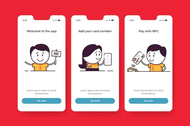 Onboarding-bildschirme für mobile finanzanwendungen. willkommen in der app, fügen sie ihre kartennummer hinzu, bezahlen sie mit nfc. niedliche charaktere zur einführung von fintech-startfunktionen. kosten kontrollieren und finanzen verwalten.