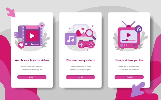 Onboarding bildschirmseitenvorlage der video streaming app