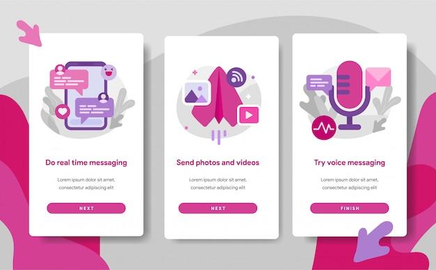 Onboarding-bildschirmseitenvorlage von chat messaging app