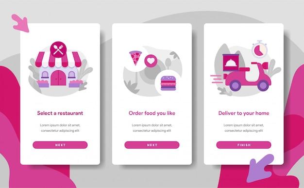 Onboarding bildschirmseitenvorlage von online food delivery