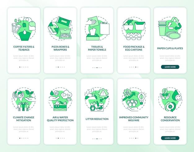Onboarding des bildschirms der mobilen app für biologisch abbaubare abfälle mit festgelegten konzepten. walkthrough-schritte für verpackung und schutz. ui-vorlage mit rgb-farbe