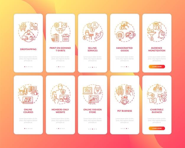 Onboarding des bildschirms der mobilen app für kleine unternehmen mit festgelegten konzepten