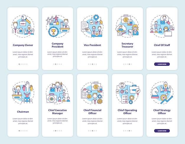 Onboarding des seitenbildschirms der mobilen app des top-managements mit festgelegten konzepten. firmeninhaber. komplettlösung für den vizepräsidenten 10 schritte grafische anweisungen. ui-vorlage mit rgb-farbabbildungen