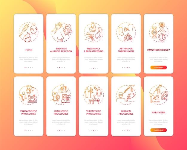 Onboarding des seitenbildschirms der mobilen app für gesundheitsdienste mit festgelegten konzepten