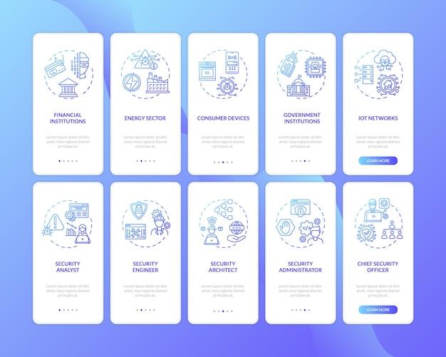 Onboarding des seitenbildschirms der mobilen app für it-sicherheit mit festgelegten konzepten