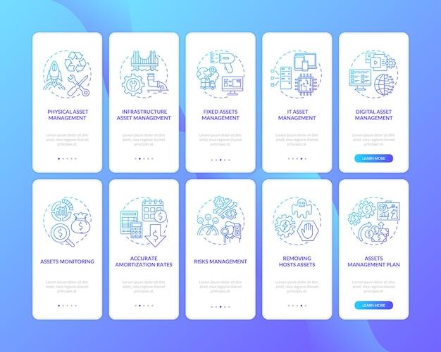 Onboarding des seitenbildschirms der mobilen app mit festgelegten konzepten