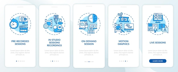Onboarding des seitenbildschirms der mobilen app mit konzepten für remote-ereignisinhalte