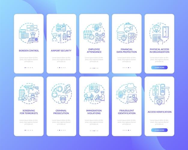 Onboarding des seitenbildschirms für mobile apps mit festgelegten konzepten