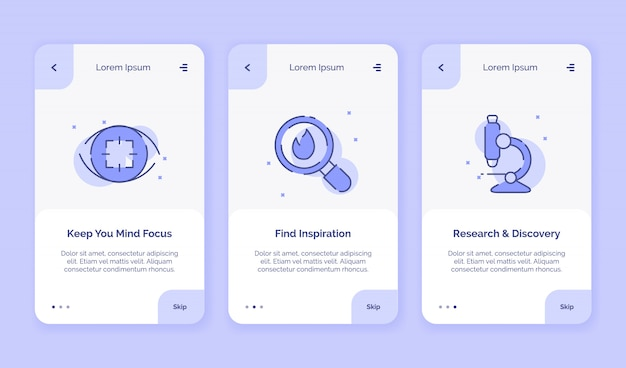 Onboarding icon creative behalten sie ihren fokus im fokus. finden sie inspirationsforschungs-entdeckungskampagnen für mobile apps. landing template flat style