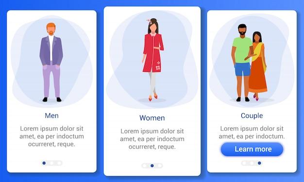 Onboarding mobile app bildschirmvorlage für erwachsene. geschlechterverhältnis. indische, irische, japanische multinationale männer, frauen, paare. website-schritte mit flachen zeichen. ux, ui, gui smartphone-oberfläche
