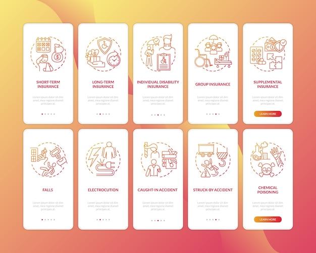 Onboarding mobile app-seitenbildschirm der invalidenversicherung mit festgelegten konzepten.