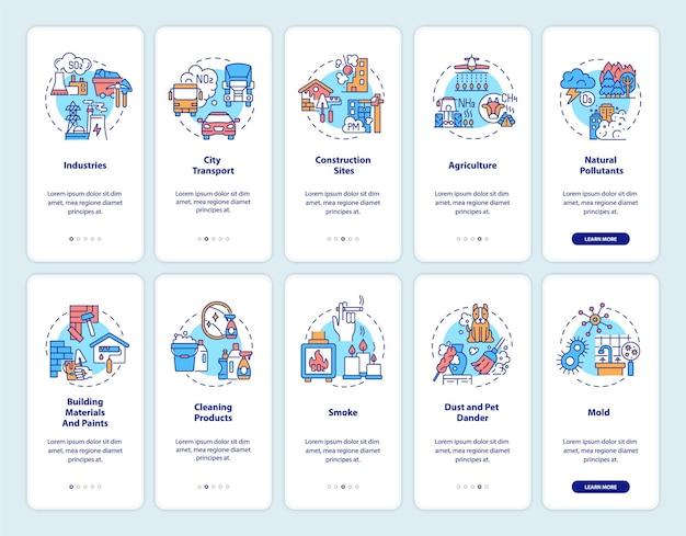 Onboarding mobiler app-seitenbildschirm der luftverschmutzung im innen- und außenbereich mit konzepten