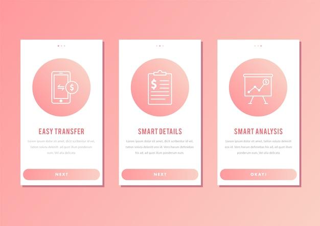 Onboarding ux ui gui app prüft die vorlage für bankanwendungen für mobile anwendungen.