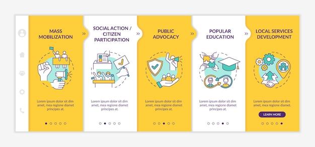 Onboarding-vektorvorlage für die änderung von strategien für soziale einheiten. responsive mobile website mit symbolen. webseiten-walkthrough-bildschirme in 5 schritten. farbkonzept der massenmobilisierung mit linearen illustrationen