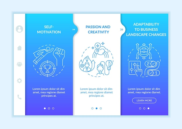Onboarding-vektorvorlage für startanforderungen für startups