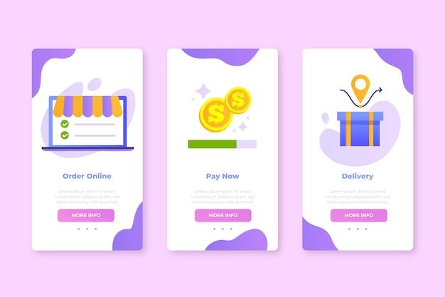 Onboarding von app-bildschirmen für den kauf eines onlinedienstes